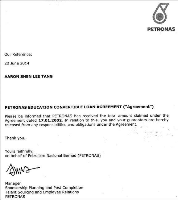 Screenshot of PETRONAS Release Letter