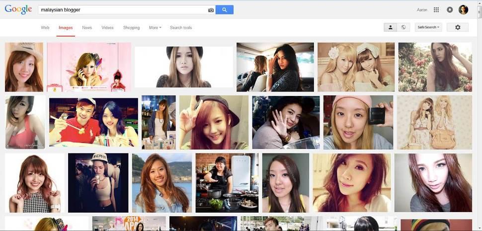 "Screenshot of ""Malaysian Blogger"" Google Image search"