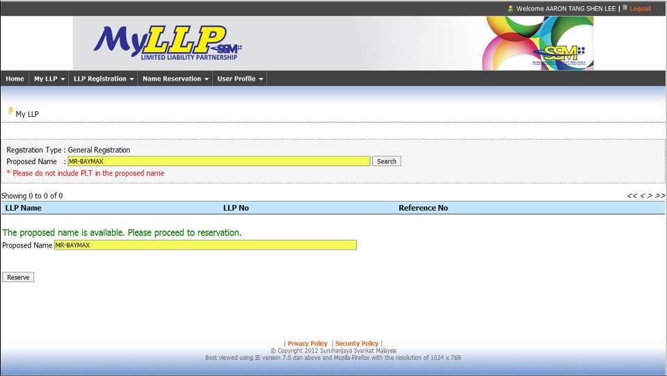 Screenshot of LLP Name Registration