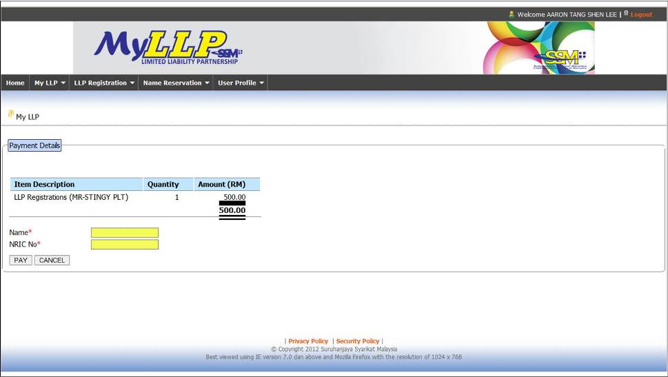 Screenshot of LLP Payment