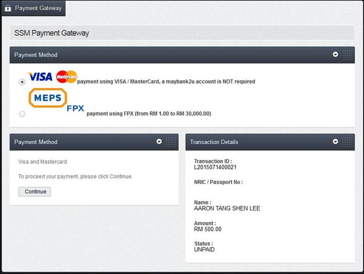 Screenshot of LLP Payment Part 2