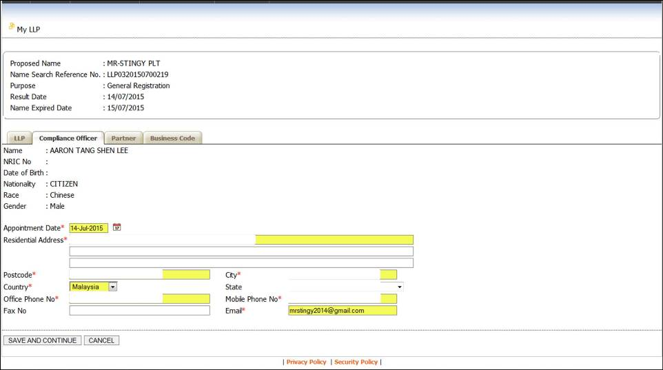 Screenshot of LLP Registration Part 2