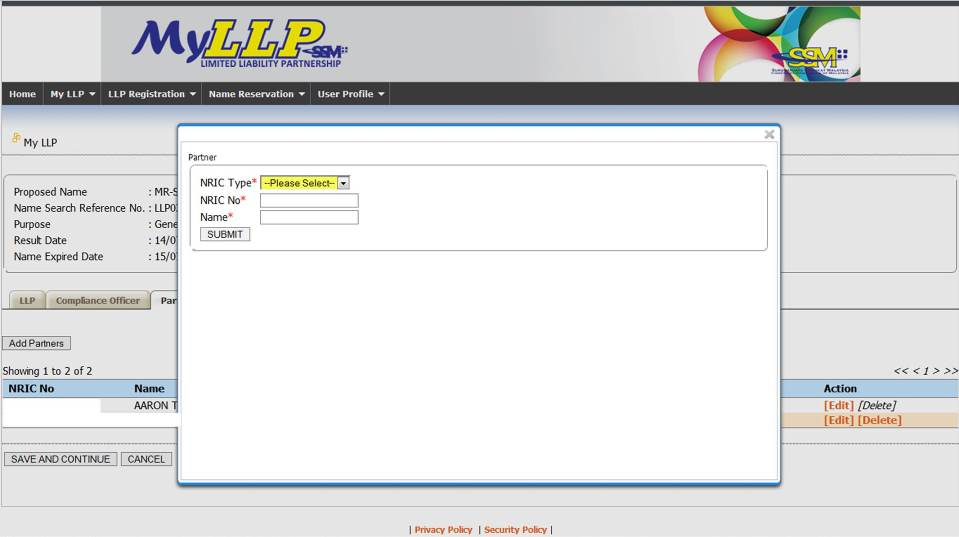 Screenshot of LLP Registration Part 3