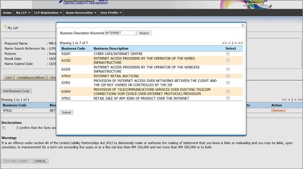 Screenshot of LLP Registration Part 5