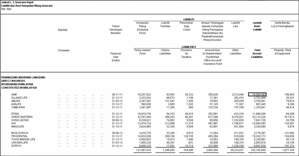 Screenshot of Malaysian insurance industry balance sheet