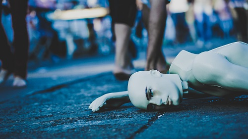 Picture of mannequin lying on ground