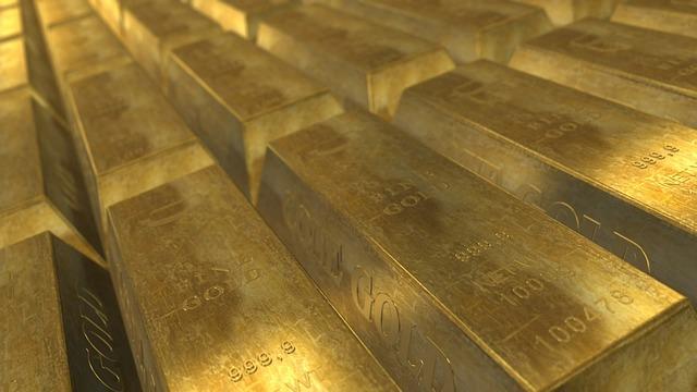 Gold bullion in vault