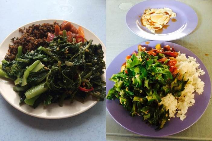 Picture of non-gym vs gym day lunch